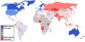 Mapa infográfico con los mejores y peores países donde nacer en 2013