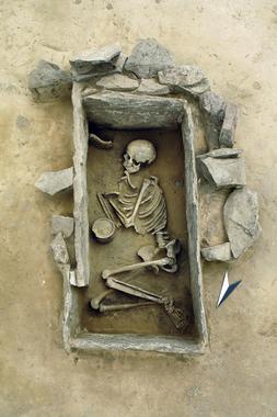 Los enterramientos, como este de la cultura campaniforme en Alemania, proporcionan datos biológicos para reconstruir los movimientos de poblaciones. / State Office for Heritage Management and Archaeology Saxony-Anhalt