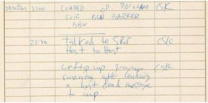 El cuaderno donde el estudiante de Kleinrock anotó el primer mensaje enviado por Arpanet.