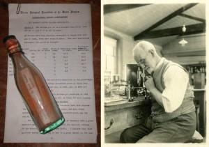Una de las botellas (izquierda) que envió el biólogo marino G. P. Bidder (derecha) entre 1904 y 1906 para estudiar las corrientes en el mar del Norte. La anciana Marianne Winkler ha encontrado una muy parecida en la isla alemana de Amrum. / MBA archive