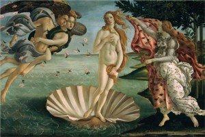 El Nacimiento de Venus, el célebre cuadro de Sandro Botticelli (1445-1510), en su versión original. Las proporciones corporales de la mujer en el centro de la imagen corresponden a lo que se podría esperar de la bella diosa Venus, al menos para la sociedad europea de aquella época.